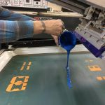 Behind the Scenes: custom ink application while screen printing custom decals. Screen printing gives the boldest colors!
